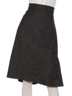 シャンブレーバックフリルギャザータイトスカート