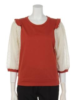 花刺繍シフォンバルーン袖プルオーバー