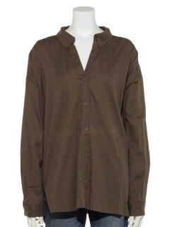 シンプル抜き衿シャツ