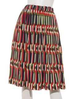 幾何学柄消しプリーツスカート