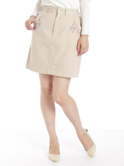 Ray Cassin (レイカズン) 刺繍台形スカート ベージュ