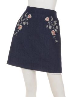 花刺繍台形スカート