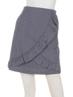 ストライプフリル台形スカート