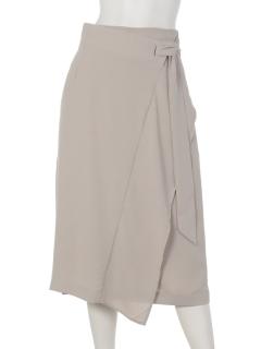 ウエストリボン巻き風ミディスカート