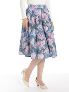花柄ミディフレアスカート