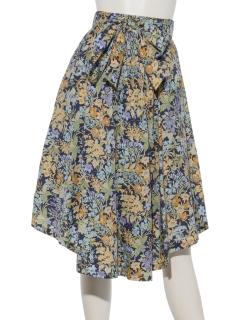 共リボン付き花柄イレヘムスカート