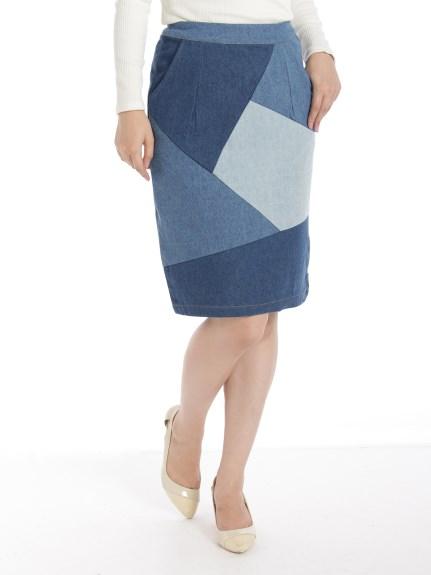 Ray Cassin (レイカズン) デニムパッチワークタイトスカート ネイビー