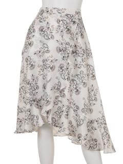 花柄フリルイレヘムミディスカート