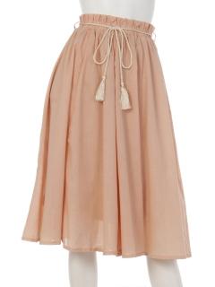 平織りガーゼミドル丈フレアスカート