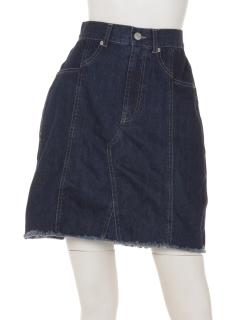 デニム切替え台形スカート