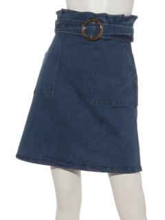 ベルト付きハイウエスト台形スカート