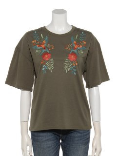 バードフラワー刺繍フレア袖Tシャツ