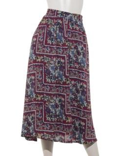 スカーフ柄ギャザーフレアスカート