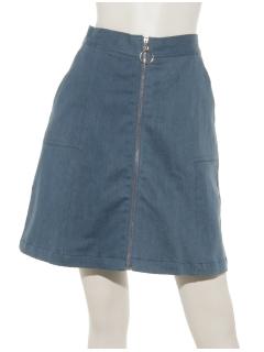 ツイル・デニムリングジップ台形スカート