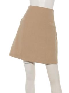 スウェードタッチツイル・デニムポケット付き台形スカート
