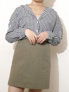パッチポケット台形ミニスカート
