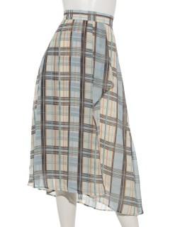 シア-チェックラップフレアスカート