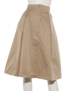 Fボタンフレアミディスカート