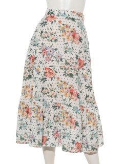 花柄ドットギャザー切替ロングスカート
