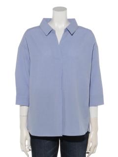 七部袖スキッパーシャツ