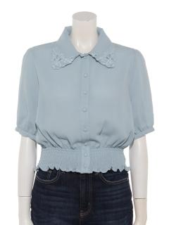 衿刺繍半袖ブラウス