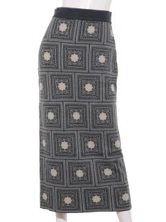 スカーフ柄ジャガードニットスカート