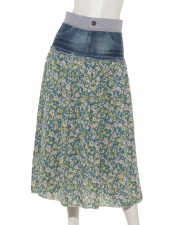 花柄デニムミックスロングスカート