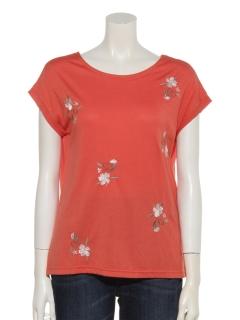 2WAY花刺繍Tシャツ