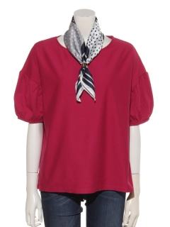 スカーフ付 パフ袖Tシャツ