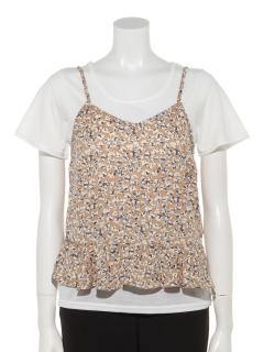 花柄キャミ+Tシャツ
