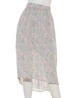 花柄プリーツイレギュラーヘムスカート