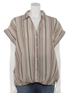 ローンストライプタケノコタックシャツ(半袖)