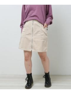 コール天フロントジップアウトポケットスカート