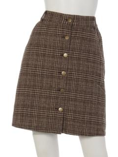 前開きチェック柄スカート