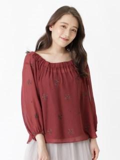 総花柄刺繍バルーン袖オフショルプルオーバー