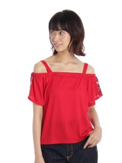 袖刺繍オフショルプルオーバー