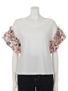 花柄フレアスリーブTシャツ
