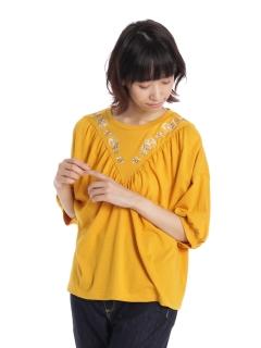 ボリューム袖刺繍プルオーバー