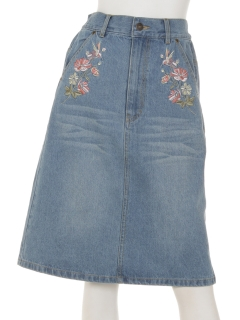デニム台形刺繍スカート(8oz)