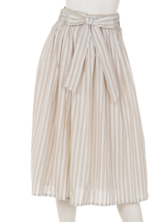 リボン付きストライプギャザースカート