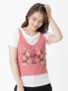 GP2点セット(刺繍キャミニットxTシャツ)