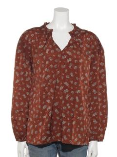 花柄袖ボリュームシャツ
