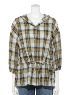 7分袖チェックフードパーカーシャツ