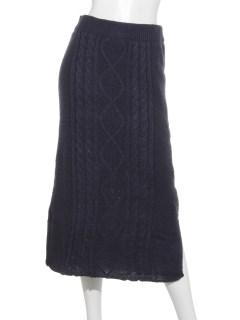 ケーブル編みタイトスカート