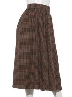 C起毛チェックサイドボタンスカート