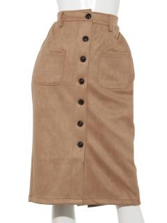 フェイクスエードポンチ前ボタンスカート
