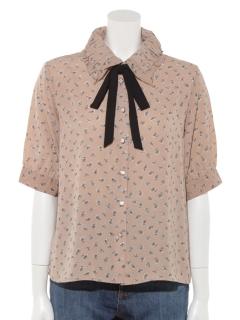 5分袖花柄ギャザー衿リボン付ブラウス