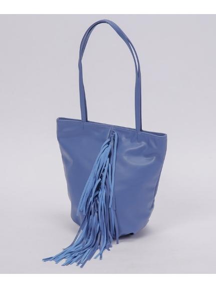 LAUGOA (ラウゴア) Elmarフリンジトートバッグ ブルー