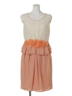 アジロバイカラーペプラムドレス