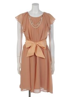 ネックレス付シフォンセンタータックドレス